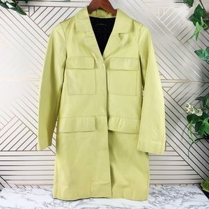 ZARA Woman yellow faux leather coat lapel size XS